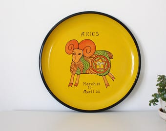 vintage. Aries. yellow serving tray. cocktails. party. home decor. plastic. ram. 1960s mod. modern. mid century. illustration.