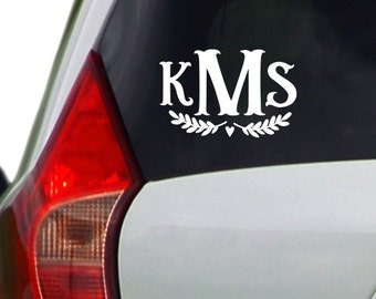 Car Decal - Monogram with Laurel - Personalized Wall Decal - Decal for Woman - Unique Gift for Girl