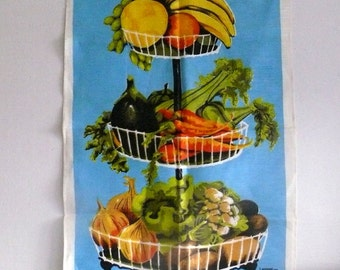 Linen Tea Towel - Made in Ireland - Hanging Fruit Basket