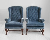 BLACK FRIDAY SALE 2 steel blue Vintage tufted Chippendale style wing chairs
