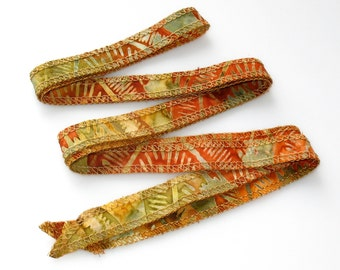Southwest Santa Fe Style Hand Dyed Artisan Cotton Batik Serged Ribbon