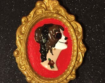 Day of the Dead Inspired Tattooed Cameo Wall Hanging ~ ReVamped Vintage Piece