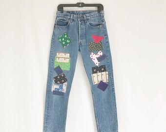 Vintage 80's LEVIS 501 Patched Straight Leg Jeans. Size 31 x 36