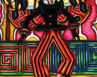 Dancing butterfly fairy original art painting flapper girl art top hat flowers fantasy nouveau artwork abstract art paintings deco art