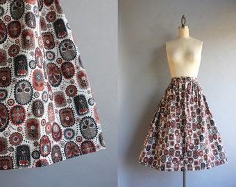 1950s Skirt / 50s Crisp Cotton Skirt / 50s Floral Folklore Full Pleated Skirt