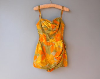 1960s Swimsuit / Vintage Early 60s Hawaiian Sarong Swimsuit / 1950s Cotton Swimsuit XS Small