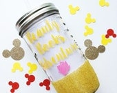 SALE Belle /// Beauty and the Beast /// Glitter Mason Jar Tumbler // Glitter Tumbler // Glitter Glass