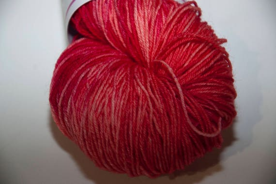 Hand-Dyed Yarn in Cherry Pie Colourway Sock Yarn Superwash Wool/Nylon Tootsie Base