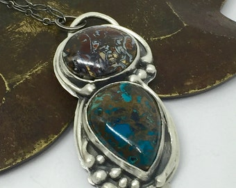 Koroit Opal Necklace Chrysocolla Sterling Silver Necklace Pendant
