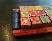 RESERVED for Laurie Vintage Wooden Blocks Animals Antique Toy