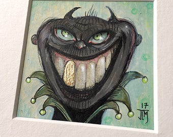 "NEW MINIATURE! ""Irene Dendrite-Toth"", original miniature mixed media 2"" x 2"" matted to 6x6"" monster, happy, gold tooth, green eyes, silly"