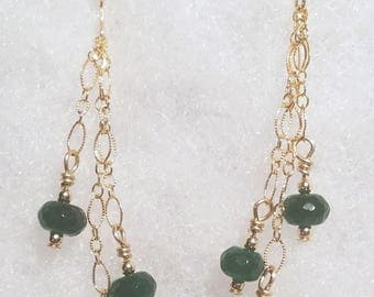 E1147 Genuine Emerald and 14 karat gold filled Earrings