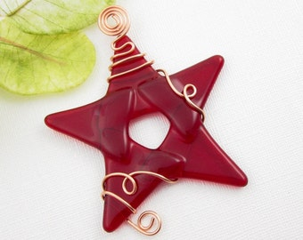 Red Glass Star Ornament Suncatcher - Fused Glass Christmas Ornament - Red Star Ornament Wrapped with Copper Wire - Holiday Decoration
