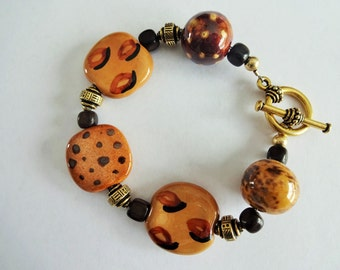 Gold African Look Bracelet made with Kazuri Beads