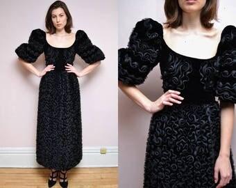 Vintage 80's Black Velvet Ribbonwork Tulle Cupcake Gown // Puff Sleeves Ribbon Dress - M L