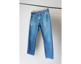 SALE - 1970s Lee Cropped Distressed Blue Boyfriend Jeans