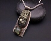 HAPPY NEW YEAR Raw - Edgy and Unusual Sterling Silver, Pyrite and Prehnite Ooak Pendant
