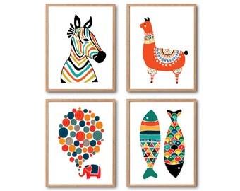 Safari Nursery, Kids room decor, Elephant, Zebra, Llama, Fish, Animal art print, PRINT SET, Safari Animal, Baby Nursery Decor