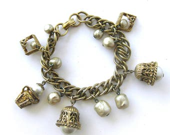 1960s Charm Bracelet / Faux Pearl Dangle and Gold Chain Link Charm Bracelet / Costume Jewelry Bracelet