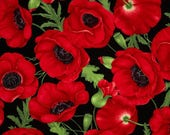 1 FQ ~ 1/2 yard ~ By the Yard ~ Large Poppies Red Color ~ Timeless Treasures Collection, Cotton Quilt Fabric