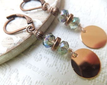 Rose gold, crystal rondelle glass and copper earrings on copper leverback or antique copper long kidney hook