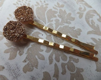 Gold Druzy Resin Hairclips - Two hair clips