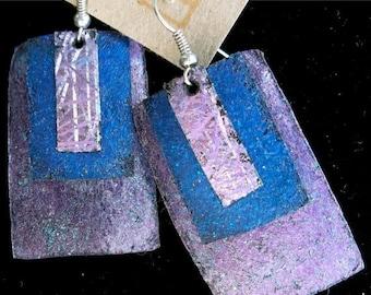 Sale: Purple Blue Lavender Rectangle Painted Leather Earrings