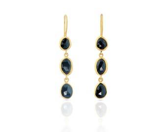 Long Black Onyx Earrings in gold Vermeil over sterling silver, free form rose cut black onyx stones, long black earrings, statement earrings