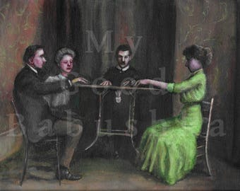 The Seance, Original Painting, Hoax, Trick, History, Spiritualism, Table Knocking, Victorian, Paranormal, Trick, Medium, Spiritualist, Ouija