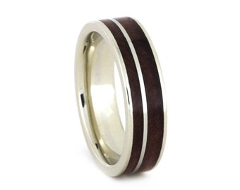 Gold Wood Ring, 10k White Gold Wedding Band With Inlays of Red Cedar Wood, Jewelry Gift For Men or Women, Wood Wedding Band