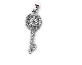 Small Rhinestone Encrusted Skeleton Key with Round Flower Top Pendant