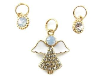 Set of Small Rhinestone Angel Pendant and Rhinestone Charms