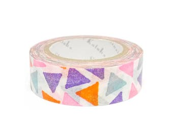 Japanese Washi Tape - Shinzi Katoh - Colourful Triangles - Made in Japan - 15mm x 10 metres - Washi Tape Shop Australia