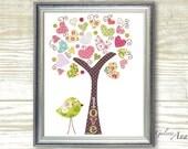 Kids wall art - nursery art prints - baby nursery decor - nursery art -  Birds Tree Pink - Tree Of Love print  by GalerieAnais