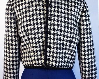 Houndstooth button up bolero jacket XS