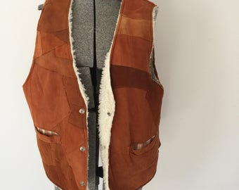 Vintage SUEDE PATCHWORK Vest • 1970s Western Wear Clothing • Handmade Brown Leather Women or Men Cowboy Sherpa Lined 60s Sleeveless Jacket