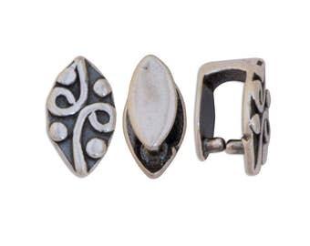 Leaf Sterling Silver Pinch Bails 43536 (2) Oxidized Bails, Pendant Bails, Jewelry Findings, Silver Pinch Bail, Jewelry Bail, Necklace Bail