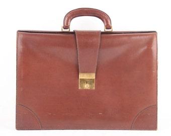 FRANZI Italian VINTAGE Brown Leather BRIEFCASE Handbag work bag