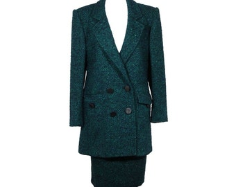 ANDREA ODICINI Italian VINTAGE Green Tweed suit coat and skirt set sz 40 it is