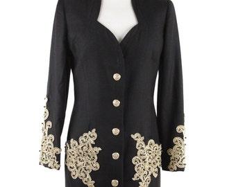 Authentic RENATO BALESTRA Vintage Black Wool EMBELLISHED jacket w/ beads size 42
