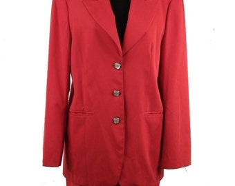 BEARS BAZAR laura biagiotti vintage red suit blazer and pencil skirt size 6 8
