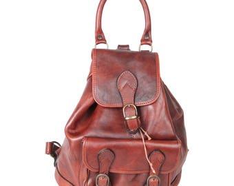 VINTAGE Brown Leather BACKPACK Shoulder Bag