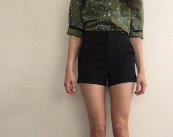 1950s Olive Floral Cotton Blouse Small