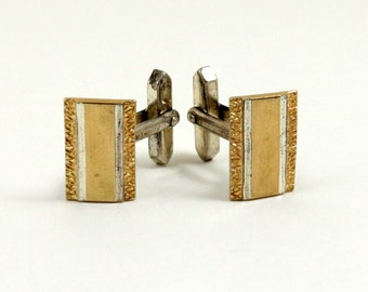 Vintage Sterling Silver Cufflinks, 9k Gold, 9ct Gold on Silver, 1970s Cufflinks, Rectangular Textured Diamond Cut Gold Filled Bar Cufflinks