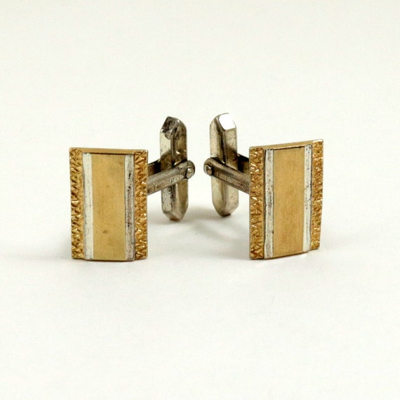 Vintage Sterling Silver Cufflinks, 9ct Gold on Silver