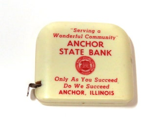 Vintage Advertising Tape Measure/ Anchor State Bank / Made in West Germany