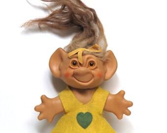 "1960s Uneeda Wishnik Troll Doll 5.5""/ All Original w Yellow Felt Dress/ ""Uneda"" Mis-spelled on Back"