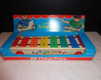 Vintage Xylophone Pull-A-Tune from Fisher Price with Original Box 1985