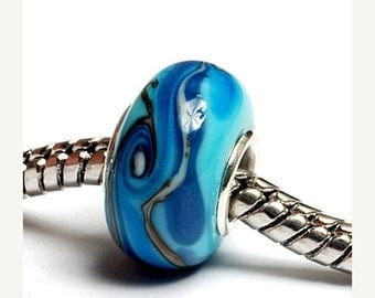 ON SALE 45% OFF Glass Lampwork Beads  - Large Hole Turquoise/Light Blue Twist Rondelle Bead - Sc10047