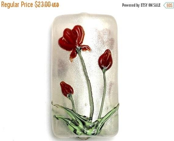 ON SALE 45% OFF Crimson Flower Kalera Focal Bead - Handmade Glass Lampwork Bead - Sparkle silver pixie dust 11832103